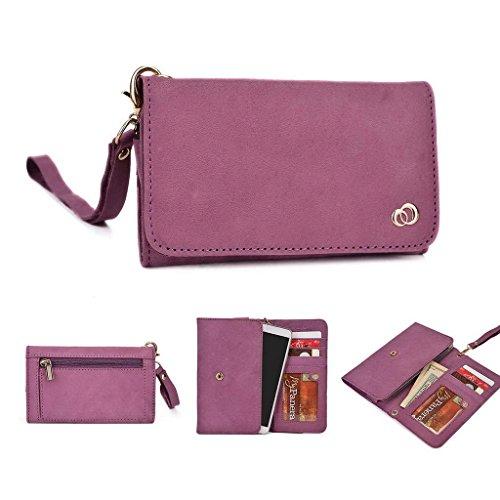 Kroo Pochette Housse Téléphone Portable en cuir véritable pour Panasonic P55 Marron - marron Violet - violet