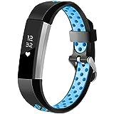 HUMENN Bracelet pour Fitbit Alta/Fitbit Alta HR/Fitbit Alta Ace, Bracelet de Remplacment en TPU Silicone Réglable Sport Accessoire pour Fitbit Alta Large Noir/Bleu