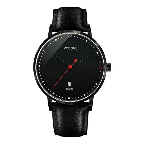 VOEONS Herren-Armbanduhr Datum Analog Quarz modisch Braun|Schwarz Leder Herren Uhren klassisch Design LA6041