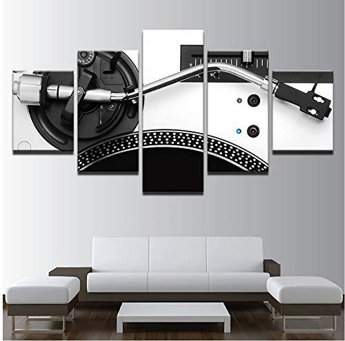 FCXBQ Kein Rahmen modulare Bilder wohnkultur leinwand hd Druck 5 stück Musik dj Konsole Instrument Mixer malerei Wohnzimmer wandkunst Poster -