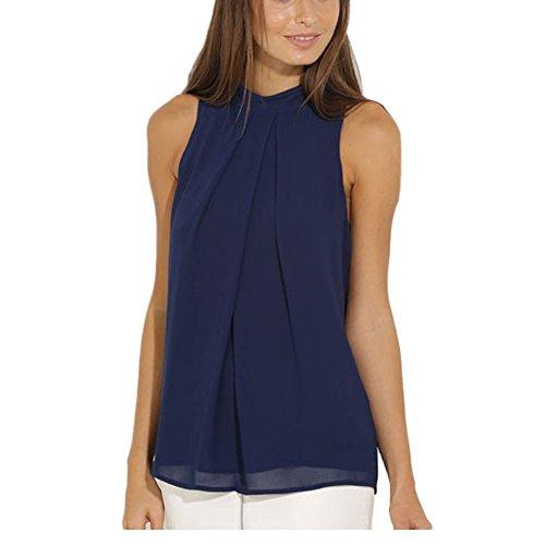 Patgoal - Camicia - Basic - Collo a U  - Senza maniche  -  donna Blue 40/EtichettaM