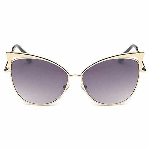 Highdas Uomo Donna Retro Vintage Cat Eye Lunettes de soleil UV400 Gold/Obtenir Gris-923