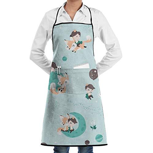 Socksforu Der kleine Prinz und der Fuchs - Mint und Braun Durable Einstellbare Waschbare Küche Overlock Schürze Tasche Kochen Backen Unisex -
