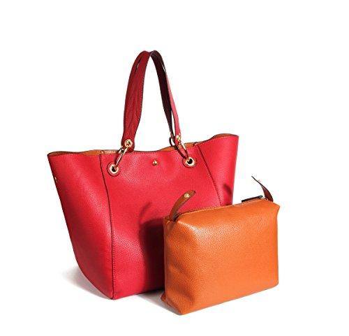 KAMIERFA Sac Seau Tote Femme à Main Bandoulière Epaule Shopper Cabas en Cuir PU Grande Capacité Chic (Rouge)