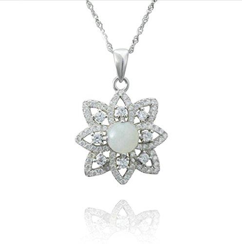 Daesar 925 Sterling Silber Damen Halsketten Weiß Vintage Daisy Blumen Anhänger Halsketten (Hund Kostüme Daisy Blume)