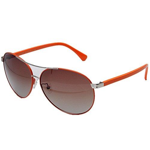 Qifengshop Frau Pilot Polarized Sonnenbrillen, Metallrahmen, UV 400 Schutz im Freien (Color : RED)