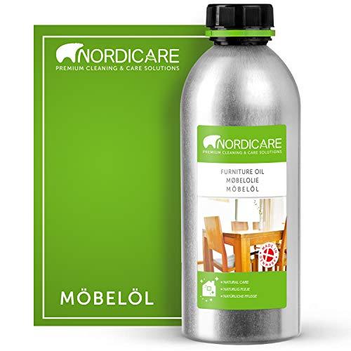 Nordicare Holzöl 1000ml zur Pflege. Möbelöl farblos für Eiche, Buche, Nussbaum, Lärche. Holzlasur auf Basis von Leinöl. Leinölfirnis