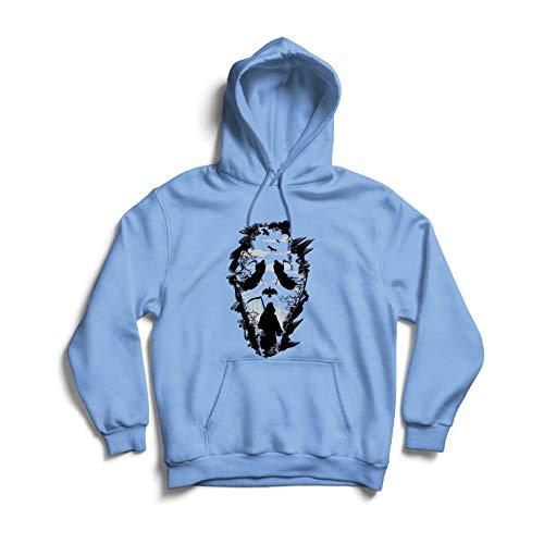lepni.me Kapuzenpullover Tribal Sensenmann Schrei - Tod gruselig beängstigend (X-Large Blau Mehrfarben) (Beste Beängstigend Kostüm)