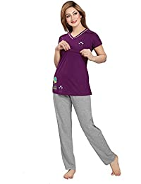 AV2 Women's Cotton Solid Feeding/Nursing/Maternity Top and Pyjama Set