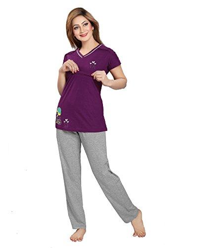 AV2 Women Cotton Solid Feeding/Nursing/Maternity Top & Pyjama Set