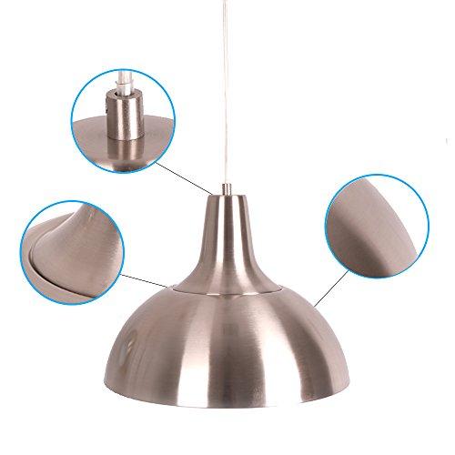 MSTAR Moderne Pendelleuchte Vintage Hängelampe Industrielle Pendellampe Hängeleuchte aus Metall Nickel Satiniert - 3