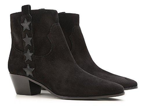 Bottines westerns talon Saint Laurent en cuir daim noir - Code modèle: 416469 CLTF0 1000 Noir
