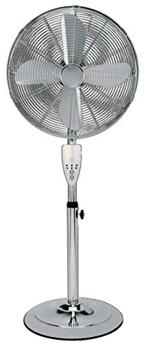Aironic (TM) 16 Inch Chrome Pedestal Floor Fan 3 Speed with Remote Control