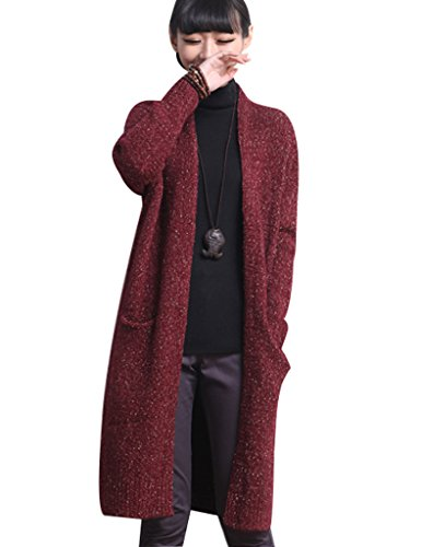 Youlee Femmes Châles Hiver Pull Cardigan Pull en maille Rouge