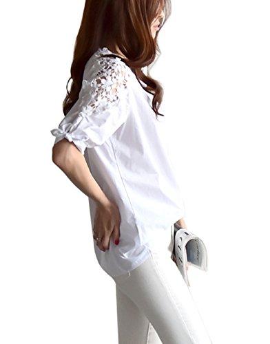 BAO CORE 2016 Neuf Chemise Femme Coton Dentelle Broderie Creux Manches Longues Grande Taille Blanc 2#