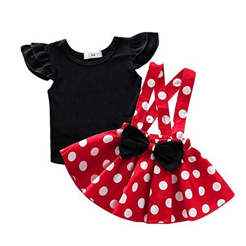 Realde--Baby Mädchen Kleidung Set Kurzarm Top+Polka-Punkt Mini Kleid Infant Baby Outfit Set 2 Stücke Einfarbig T-Shirt und Sling Kleid Partykleid Festlich Babybekleidung Abendkleid