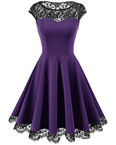 Homrain Damen 1950er Elegant Spitzenkleid Rundhals Knielang Festlich Cocktail Abendkleid Purple M