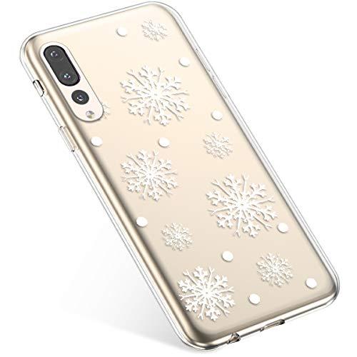 Uposao Handyhülle Huawei P20 Pro Schutzhülle Transparent Silikon Schutzhülle Handytasche Crystal Clear Durchsichtige Hülle TPU Cover Weich TPU Bumper Case,Weiß Schneeflocken