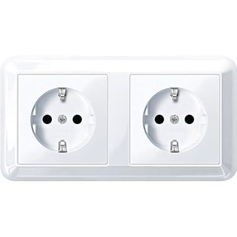 Merten MEG23281225Shuko Dual Double Plug Socket, Brs, Plug-In Terminals, Active White Glossy,
