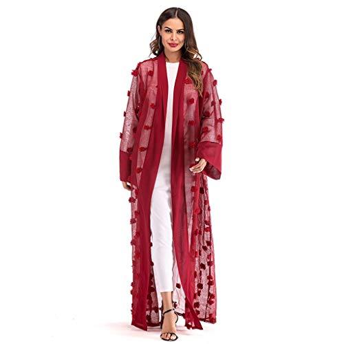KPILP Ramadan Tops et Chemisiers Femme Musulman Moyen Orient Arabe Style National Longue Section Cardigan Robe S-2XL(Rouge,FR-58/CN-2XL)