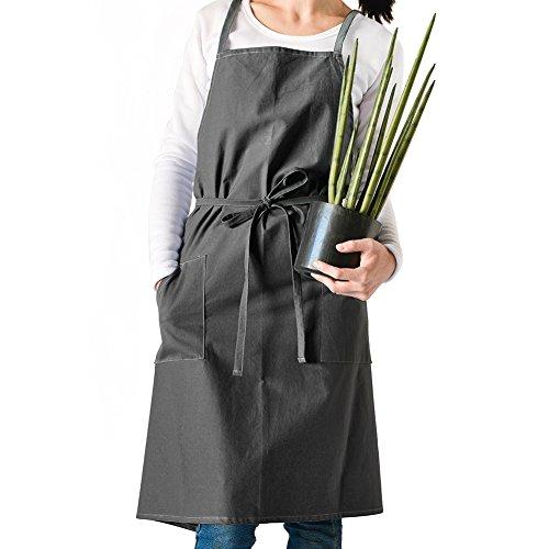 Yunt Tablier de Cuisine Femme Tablier en Coton Sans Manches Antitache pour Café, Bar, Cuisson de Pâtisserie, Cuisine (Gris Foncé)