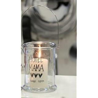 CASABLANCA - Windlicht aus Glas · klar / silber mit silbernem Druck:
