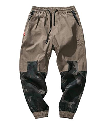 CuteRose Mens Juniors' Stitch Tapered Leg Relaxed-Fit Multicam Cargo Pant Khaki 3XL Relaxed Fit Pleated Chino-hose