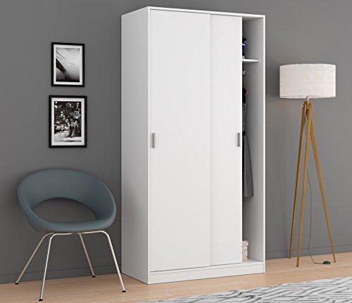 Esidra armadio guardaroba, 2 ante scorrevoli, legno bianco, 100 x 200 x 50 cm