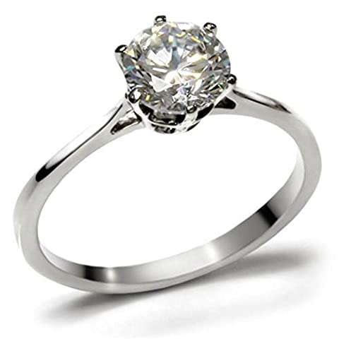 Ah! Jewellery Never Tarnish 2.30ct Solitaire Prongs Flawless Simulated Diamond Ring. Dazzling Outstanding Quality Stamped 316. Lifetime Guarantee.