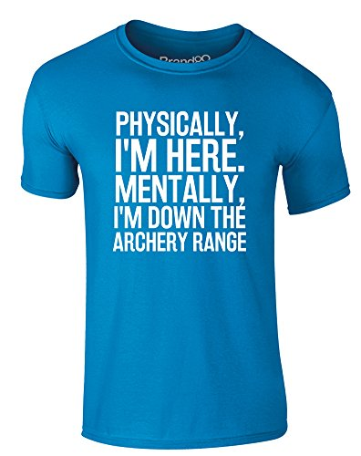 Brand88 - Mentally Down The Archery Range, Erwachsene Gedrucktes T-Shirt Azurblau/Weiß