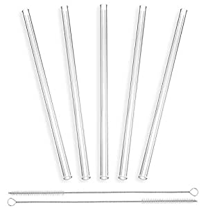 StrawGrace Handmade Glass Straws Clear Straight 9 in x 10 mm - 5 Pack With 2 Cleaning Brushes - Premium Glass - Healthy, Reusable, Eco Friendly, BPA Free, Very Sturdy - Milkshake and Smoothie Straws