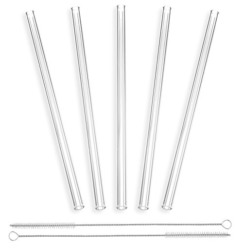 strawgrace-handmade-glass-straws-clear-straight-9-in-x-10-mm-5-pack-with-2-cleaning-brushes-premium-