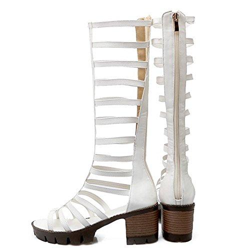 TAOFFEN Femmes Gladiateur Peep Toe Bottilons Sandales Classique Bloc Talons Moyen Fermeture Eclair Chaussures Blanc