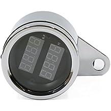 sourcingmap® Reloj del tacómetro Motocicleta impermeable LED doble tacómetro Digital Tacho reloj cuenta horas