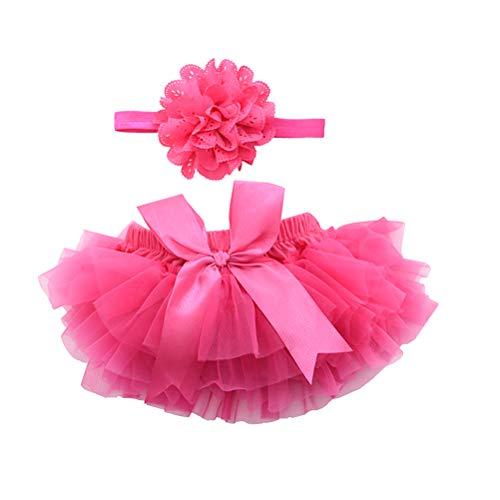 Tutu Kleidung mit Blumen Stirnband Mädchen Neugeborenes Kostüm Fotografie Requisiten Größe S (Rosa) ()