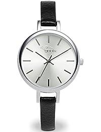 gooix GX 08003044A Mujer Reloj De Pulsera Cuero Negro analógico de cuarzo