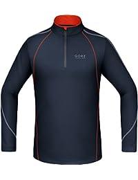 GORE RUNNING WEAR Homme Maillot de Course, Respirant, GORE Selected Fabrics, ESSENTIAL Zip Shirt long, Noir Iris/Orange, SSMESS