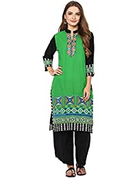 Rama Women's Embroidered Cotton Straight Kurta