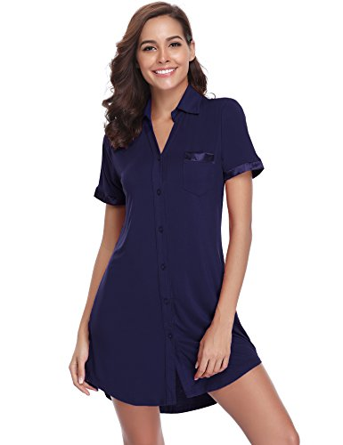 Hawiton donna vestito estivo, camicia lunga in modale con maniche corte scollo v, semplice abito da casa pigiama camicia da notte s-xl