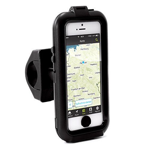 Arendo - iPhone 5 / 5s / SE soporte para bici impermeable al agua | carcasa/funda para bici | soporte para móvil/smartphone | manejo sencillo | fijación segura | optimizado para navegación en bici | adecuado para todo tipo de bicicletas y