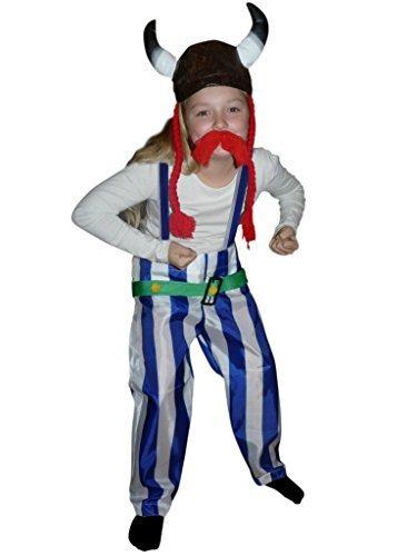 (Gallier-Kostüm, TO08 Gr. 116-122, mit Helm und Zöpfen!, für Kinder, Gallier-Kostüme, Fasching Karneval, Karnevalskostüme, Kinder-Faschingskostüme, Geburtstags-Geschenk Weihnachts-Geschenk)