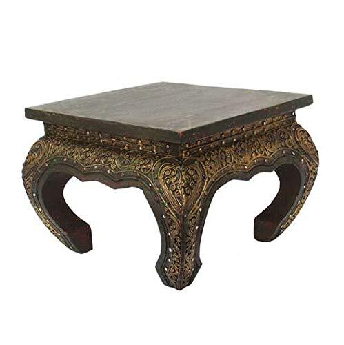 Oriental Galerie Opiumtisch Opium Tisch Beistelltisch Massiv Holz Couchtisch Nachttisch Hocker - 25cm Dunkelbraun Antik