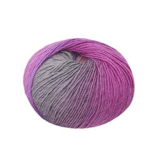 Xuthuly 1pc 50g Chunky Handgewebter Regenbogen Buntes Stricken Partituren Wollmischung Garn