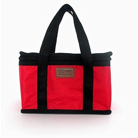 Pranzo al sacco Familizo Sacco per il Portable isolato pranzo termica Carry Tote bagagli di viaggio Picnic Bag (Rosso) - Giardino Strumenti Carry Bag