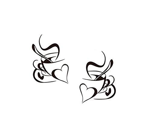 Hacoly Kaffee Tasse Wandaufkleber Kaffetasse Kindergarten Wandsticker Küche Glasfenster selbstklebend Aufkleber Wandtattoo Esszimmer Wanddeko Ideal für die Dekoration Ihres Hauses 28.5 * 40cm (Kaffee-tassen-küche)