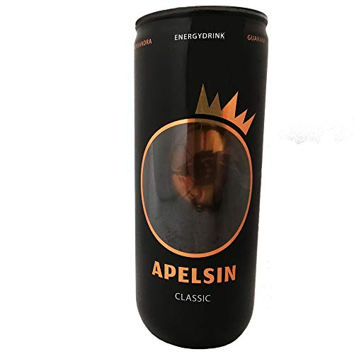 Apelsin Energy Drink 6er Pack (6 x 240ml) Einwegpfand Vegan Coffein Guarana Power Energizer Koffein
