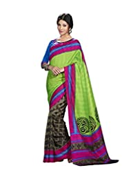 Vipul Madhubani Silk Green Traditional Print Saree With Embroidered Blouse