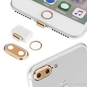 ZA eShop Camera Lens Protector Ring Case & Touch ID Support Home Button sticker & Lightning Charging Port Anti Dust Plug Set For IPhone 7PLUS Golden