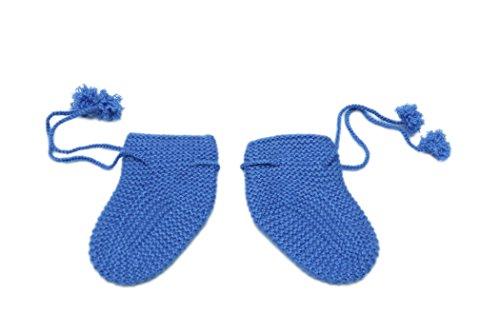 100% Kaschmir Baby Booties Socken, 4 PLY Mongolian Kaschmir 26/2 Garn, gestrickt, Neugeboren 6-18 Monate, Blau © Moksha Kaschmir (Bootie Neugeborenen)