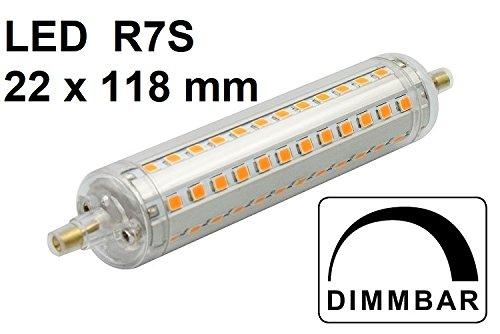 DIMMBARE LED Lampe R7S - L 118 mm x D 22 mm - 10 Watt - 1100 Lumen - Retrofit - Warmweiß 2700 Kelvin - 360° Ausstrahlung, ersetzt ca. 100 Watt Halogenlampe - geeignet z. B. für Deckenfluter, Arbeitsleuchten...